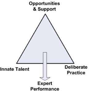 Performanse eksperta su simbioza šansi i podrške, urođenog talenta i kvalitetnog vežbanja (izvor Mladen Jovanović trainthetrainer32.blogspot.com)